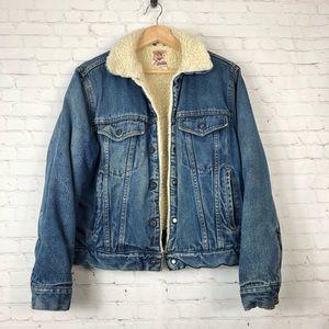 Vintage Sherpa Line Blue Medium Wash Denim Jacket